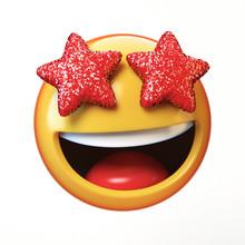 Star Eyes Emoji Isolated On Wh...