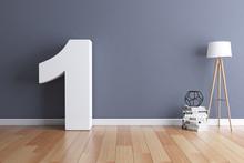 Mock Up Interior Font 3d Rendering Number 1