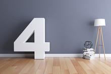 Mock Up Interior Font 3d Rendering Number 4