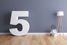 Mock Up Interior Font 3d Rendering Number 5