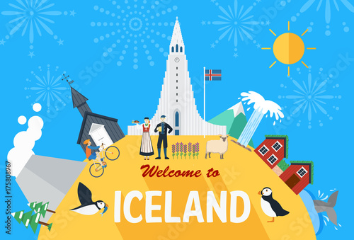Fototapeta Flat design, Iceland landmarks and icons, Vector Illustration