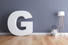 Mock Up Interior Font 3d Rendering Letter G