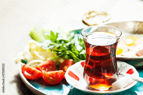 Travel concept: setup with traditional turkish breakfast