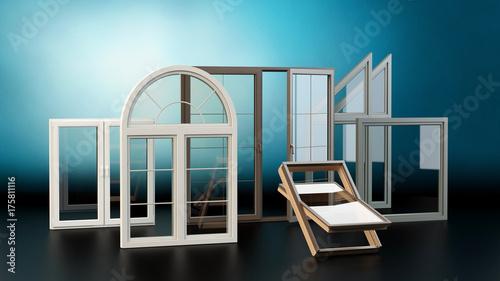 Obraz Windows colection - blue background - fototapety do salonu