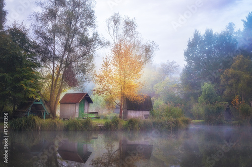 Foto op Canvas Lavendel Foggy, cold morning on the fishing lake