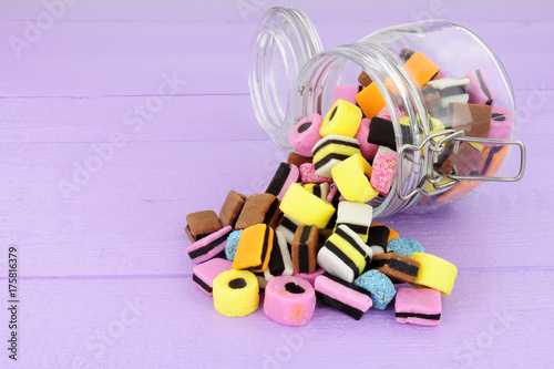 Jar filled with  traditional liquorice allsorts candy Wallpaper Mural