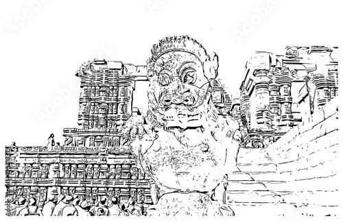 Fotografie, Obraz  Sketch of Konark Sun Temple India in vector illustration.