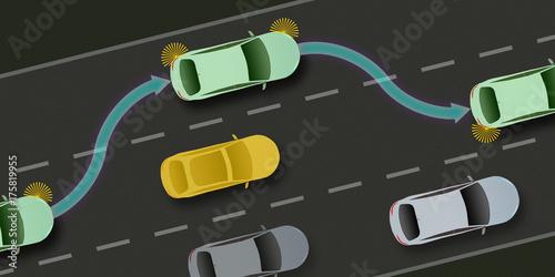 adi45 AutonomousDrivingIllustration - autonomous car and self-driving vehicle - Canvas Print