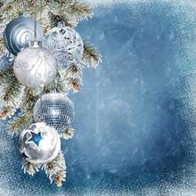 Christmas Blue Snowy Backgroun...
