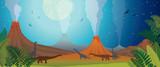 Fototapeta Dinusie - Prehistoric nature - volcano, dinosaur, fern and night.
