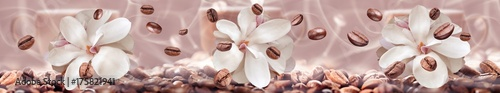 Foto op Plexiglas Magnolia coffee beans on the floral background