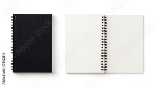 Obraz Business concept - Top view collection of black spiral notebook on white background desk for mockup - fototapety do salonu