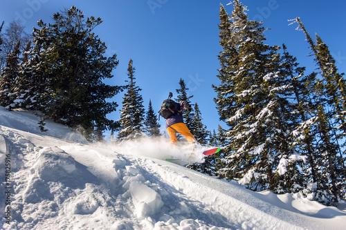 Tuinposter Wintersporten Snowboarder jump in snow powder backcountry freeride. Winter sports