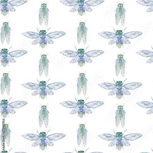 Stoffe zum Nähen Aquarell Musterdesign mit Zikade.