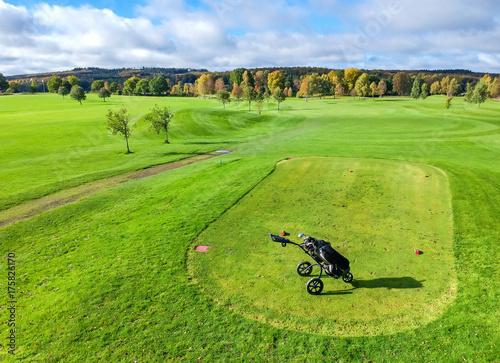 Plakat Wózek golfowy na polu golfowym