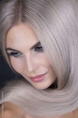 Fotografie, Obraz  Perfect shiny cold blonde hair