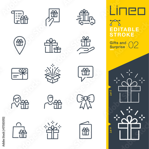 Fototapeta Lineo Editable Stroke - Gifts and Surprise line icons Vector Icons - Adjust str