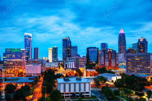Overview of downtown Charlotte, NC Wallpaper Mural