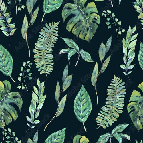akwarela-bezszwowe-wzor-zielonych-lisci-egzotycznych