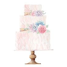 Watercolor Wedding Cake Illust...