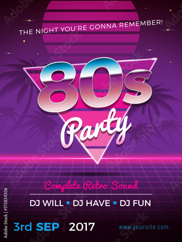 80s party flyer design in retro style Wallpaper Mural