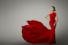 Fashion Model In Red Beauty Dr...