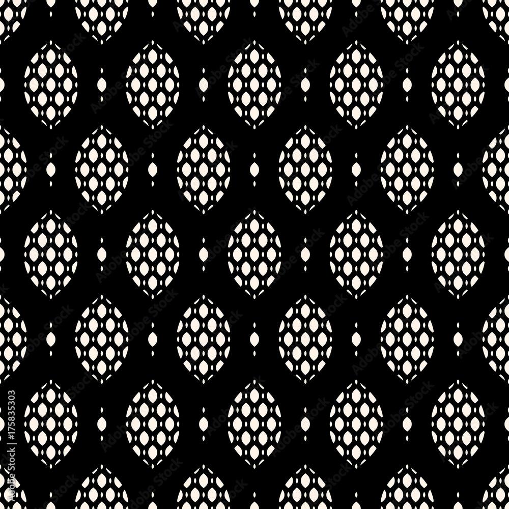 Vector seamless pattern. Elegant monochrome geometric texture, art deco style