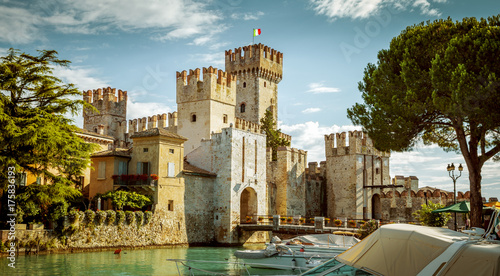 Poster de jardin Chateau Rocca Scaligera castle in Sirmione town near Garda Lake in Italy