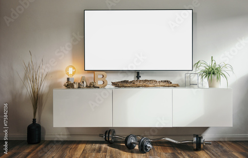 Fotografia, Obraz  loft apartment living room with Modern 4K smart TV