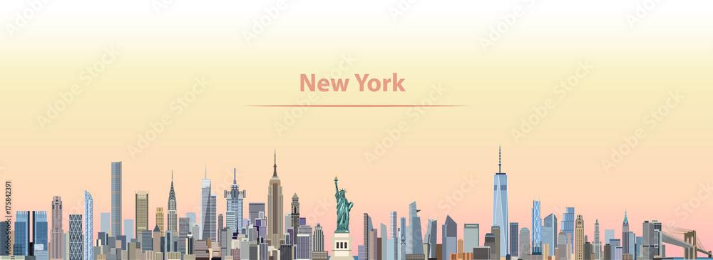 Fototapety, obrazy: vector illustration of New York city skyline at sunrise