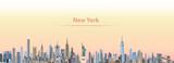 Fototapeta New York - vector illustration of New York city skyline at sunrise
