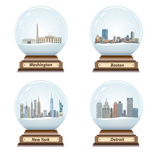 Vector Set Of Snow Globes With...