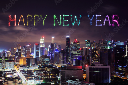 Photo  Happy new year firework with Singapore cityscape at night