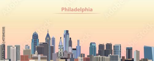 vector illustration of Philadelphia city skyline at sunrise