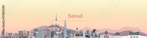 Photo  vector illustration of Seoul city skyline at sunrise