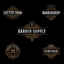 Vector Vintage Frame For Logo, Label Design. Ornate Logo Template For Tattoo, Barber Shop, Beer, Whiskey Label.
