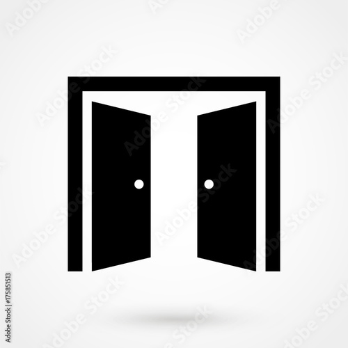 Open doors vector sketch icon isolated on background Canvas Print