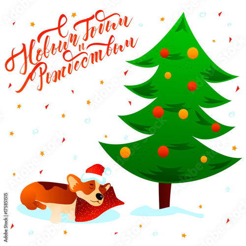 merry christmas happy new year russian text lettering postcard with cute sleeping cartoon corgi dog under - Merry Christmas In Russian