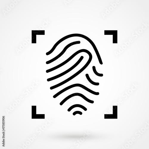 Fotografía  Fingerprint scanning line icon for web, mobile and infographics