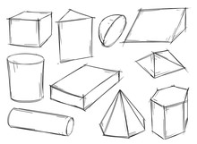 Set Of Sketchy 3D Geometrical Shapes