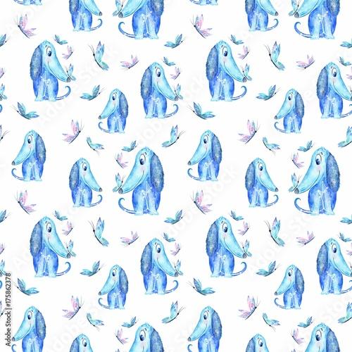 wzor-w-niebieskie-psy-posrod-motyli-na-bialym-tle