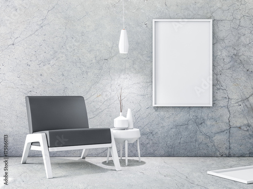 White Frame with Poster Mockup hanging on the concrete wall. 3d ...