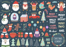 Vector Set Of Cute Christmas E...