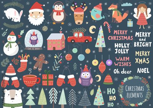 Fotografía  Vector set of cute Christmas elements: Santa, penguin, deer, bear, fox, owl, tre