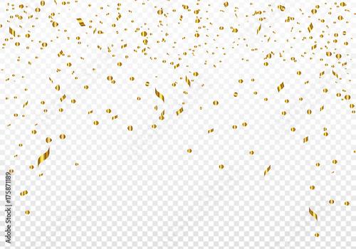 Obraz Celebration background template with gold confetti. Vector illustration. - fototapety do salonu