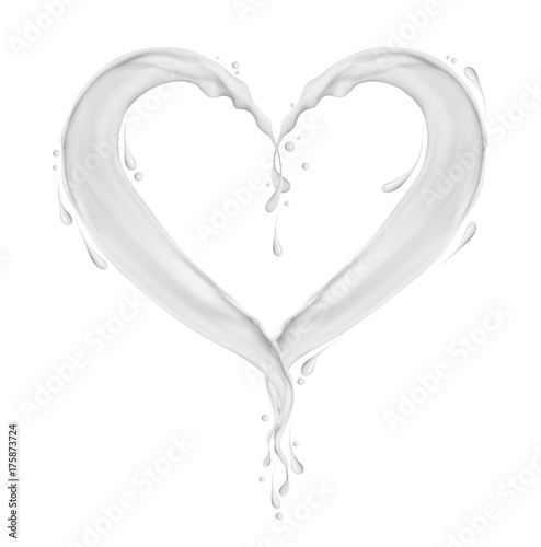 Splashes of milk in the shape of heart, isolated on white background