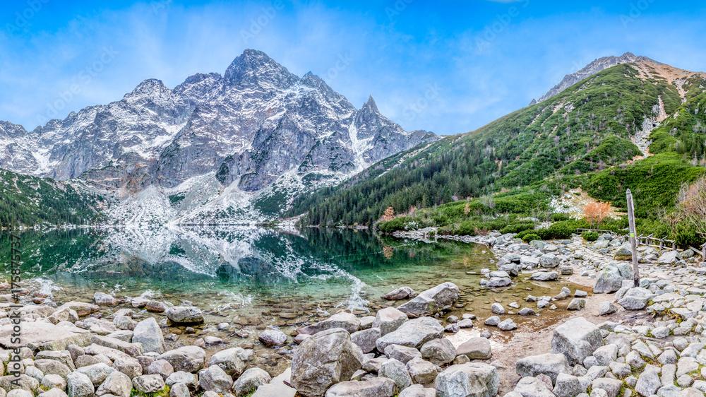 Fototapety, obrazy: Morskie oko, góra, jezioro. Panorama