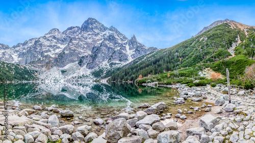 Fototapeta Morskie oko, góra, jezioro. Panorama obraz
