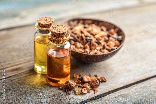 Fototapeta A bottle of myrrh essential oil