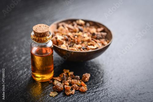 Photo A bottle of myrrh essential oil